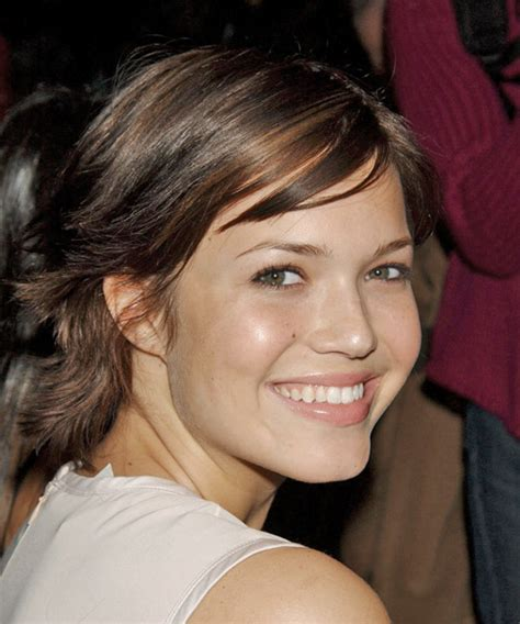 mandy moore short straight hairstyle  side swept bangs