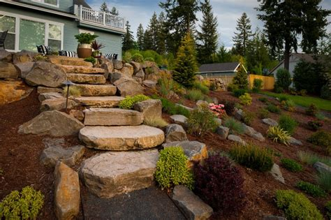 landscape hillside ideas hillside landscape designs landscape contemporary with stone retaining wall hillside garden