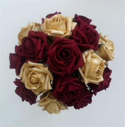 burgundygold roses bridesbridesmaids wedding bouquet