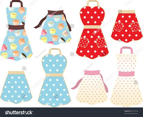 Set Of Retro Styled Cooking Aprons With Cupcake And Polka
