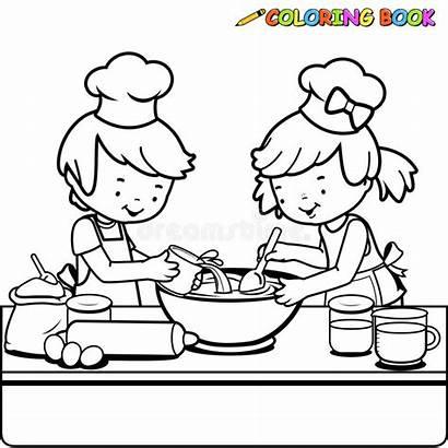 Coloring Cooking Kitchen Children Outline Vector Boy