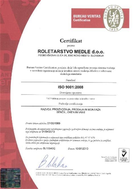bureau certification certificate bureau veritas iso 9001 2008 roletarstvo medle