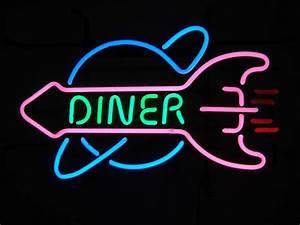 Diner Rocket Retro Neon Sign