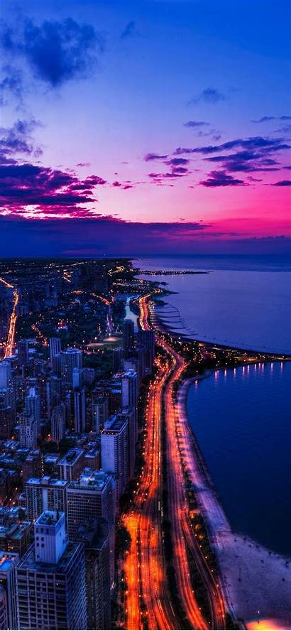 Iphone Night Sky Chicago Ocean Scape Wallpapers
