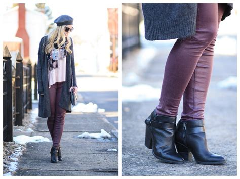 Long Cardigan, Floral Print Scarf & Burgundy Leather Pants }