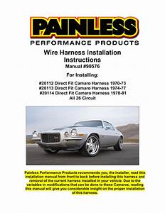 Wire Harness Installation Instructions Manual  90576 For