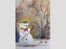 gemalte Weihnachtskarten Aquarellkunst