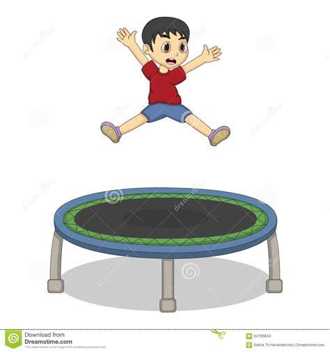 Little Boy Playing Trampoline Cartoon Stock Vector ...