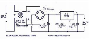 Design Of 9 V Regulator Using 7809 With Circuit Diagram