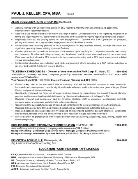 Vp Of Finance Resume by Winning Resume Sles Atlanta Ga Cfo Resume Exles Director Of Finance Vp