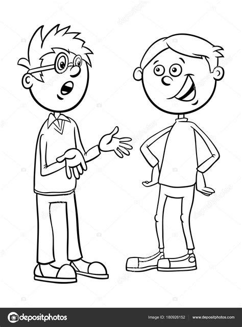 Kleurplaat Mensen Die Praten by Jongens Kid Tekens Praten Tekenfilm Kleurplaten Pagina