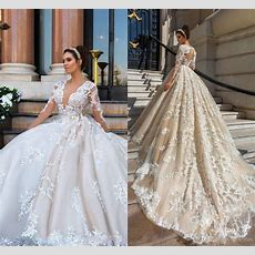 2018 Luxury Wedding Dresses Plus Size Lace Appliques 3d
