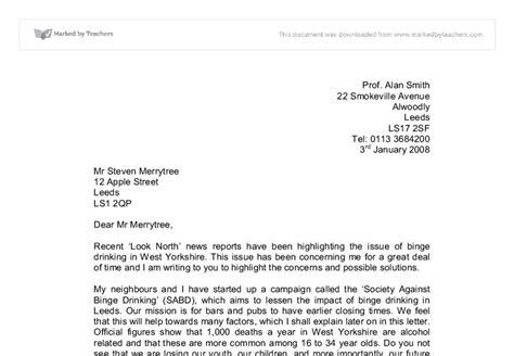persuasive letter  levelings
