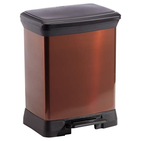 Bronze Bathroom Trash Can With Lid by Bronze Deco Step Trash Cans The Container Store