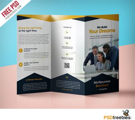professional corporate tri fold brochure  psd template