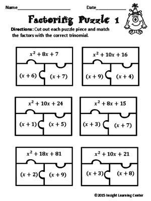 factoring polynomials puzzle factoring and quadratics algebra math and school