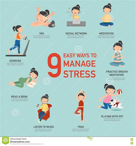 Optimizing Media Graphics How To Employees To Handle Easy Ways To Manage Stress Infographic Stock Vector