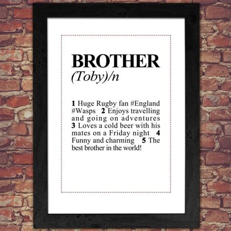 personalised brother definition print find   gift