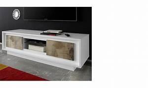 Meuble Tv Blanc Laqué Et Bois : meuble bois et laque maison design ~ Teatrodelosmanantiales.com Idées de Décoration