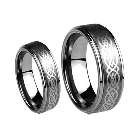 his 8mm s 6mm laser celtic knot tungsten carbide wedding band ring ebay