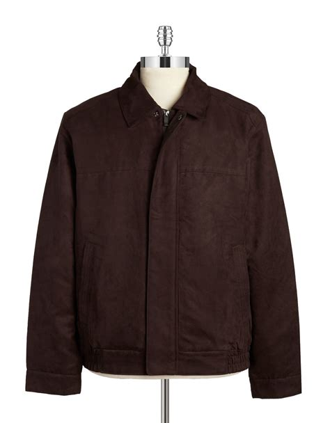 lyst weatherproof faux suede jacket  brown  men
