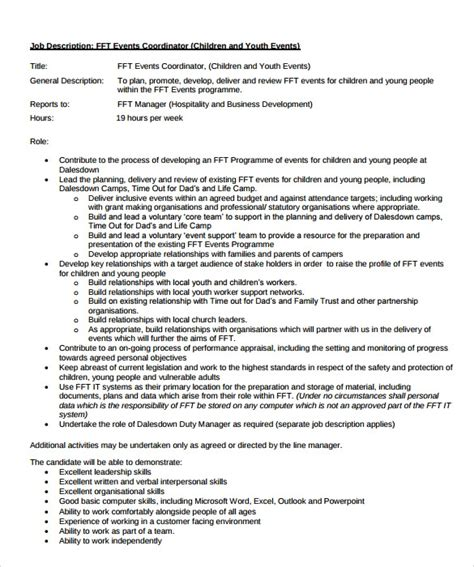 Event Coordinator Resume by 8 Sle Event Coordinator Resumes In Pdf