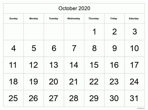 printable october  calendar template  full page