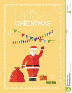 Merry Christmas Gift Card With Santa Claus Stock Photo ...