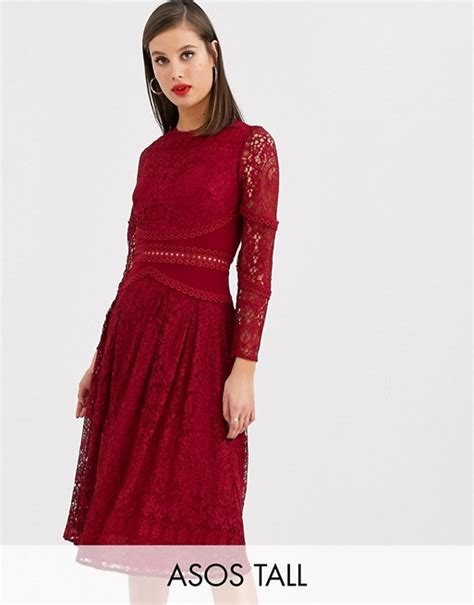 Asos Design Tall Long Sleeve Prom Dress In Lace With