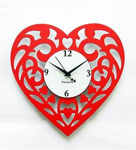 Panache Heart Shaped Wall Clock - Red by Panache Online