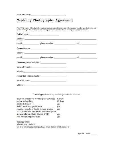 photography contract template   create edit