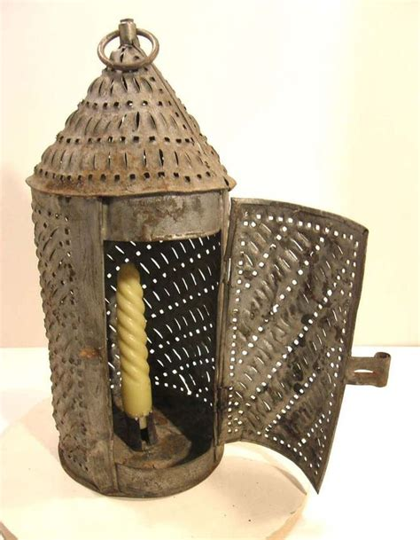 Antique 19th C Punched Pierced Tin Candle Lantern American
