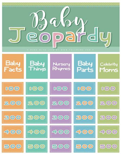 Baby Shower Jeopardy Nursery Rhymes Free Nursery Rhyme