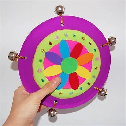 Craft Plate Paper Tambourine Crafts Plates Instrument