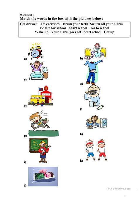 daily routines worksheet  video  bean worksheet