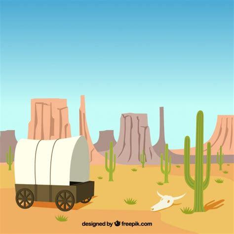 Woestijn achtergrond met koets en rotsachtige bergen