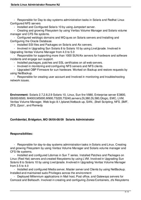 Linux Administrator Resume by Solaris Linux Administrator Resume Nj