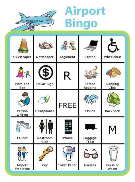 travel bingo  kids car bingo airport bingo