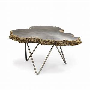 Small stainless steel and lava stone coffee table mecox for Metal and stone coffee table