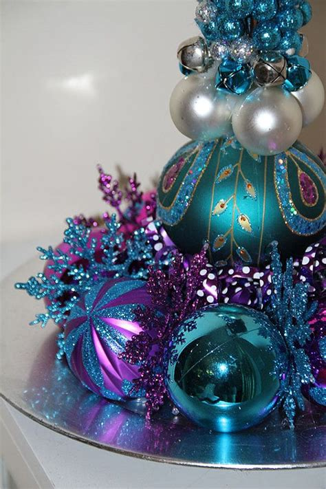 unique christmas centerpiece purple turquoise holiday