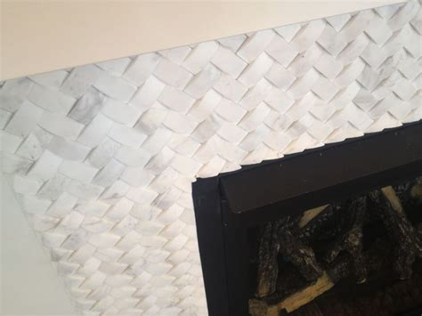 basket weave marble basket weave carrara marble fireplace tile surround with white mission style mantel fireplace