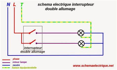 schema branchement cablage interrupteur allumage double