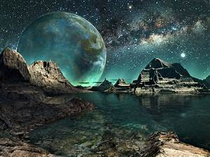 Space Planets and Stars   GREEN SPACE, GREEN, MOUNTAINS ...