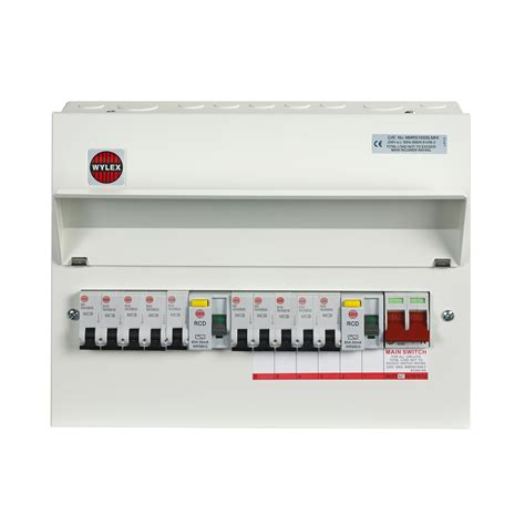 wylex 100a 10 way metal high integrity dual rcd populated consumer unit departments diy at b q