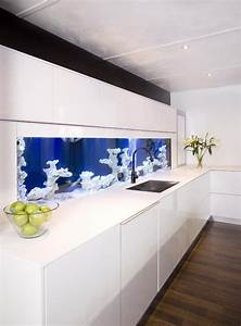 Blue Aquarium In The White Kitchen  I Could Stare At It