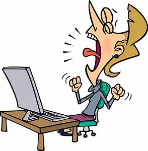 Frustrated Woman with a Computer