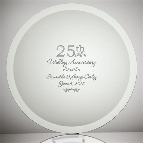 etched glass  wedding anniversary plate