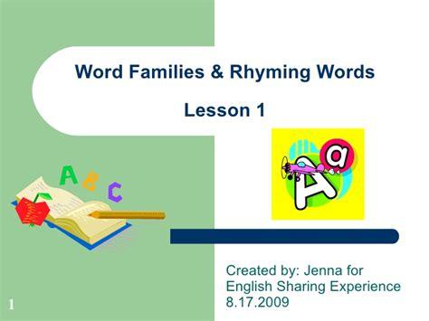 word families rhyming words