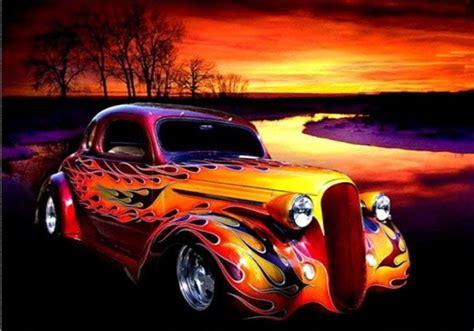 flaming car diamond painting kit cm  cm ohsocrafty