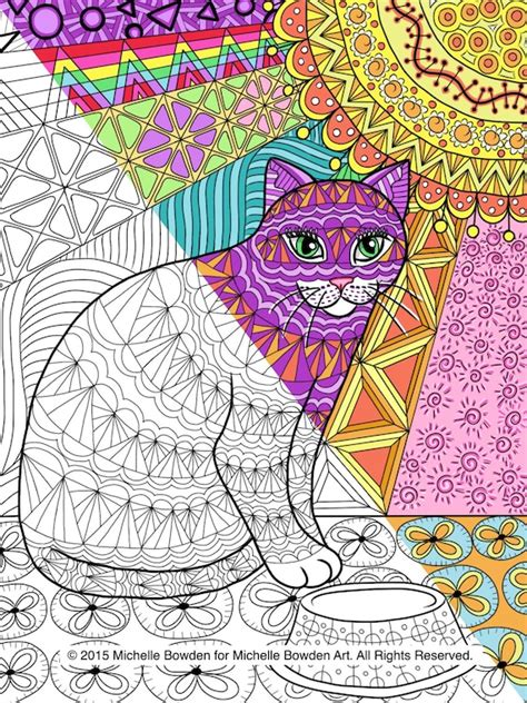 items similar  coloring page printable calico tabby cat printable zendoodle  etsy